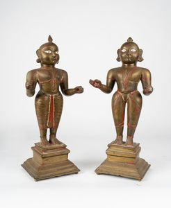 Arte Indiana - 'Coppia di imponenti figure in bronzo India, XVIII secolo '