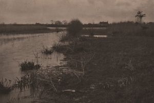 PETER-HENRY EMERSON - The River Bure at Coltis hall. An Autumn Morning