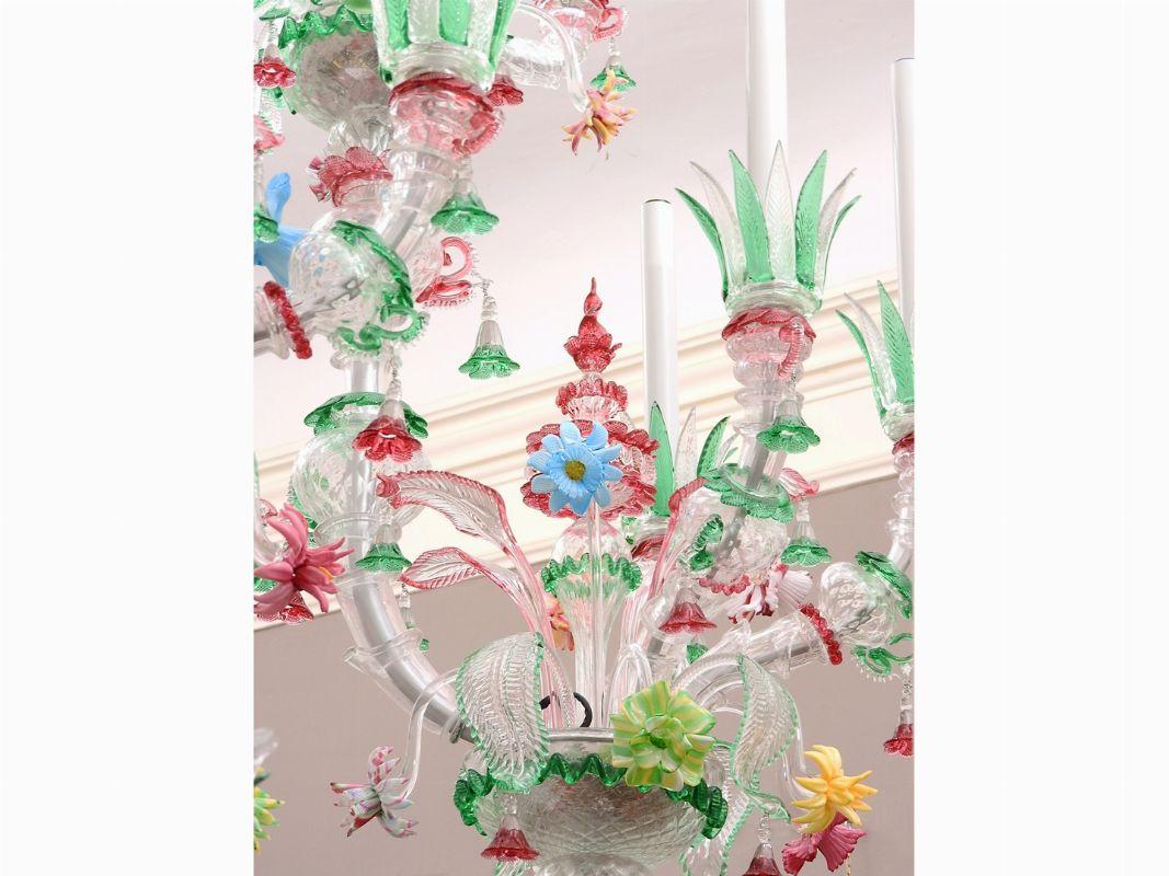 Monumentale lampadario in vetro soffiato policromo - Asta ...