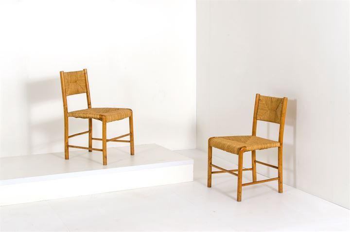 PRODUZIONE ITALIANA : Coppia di sedie in legno con sedile ...