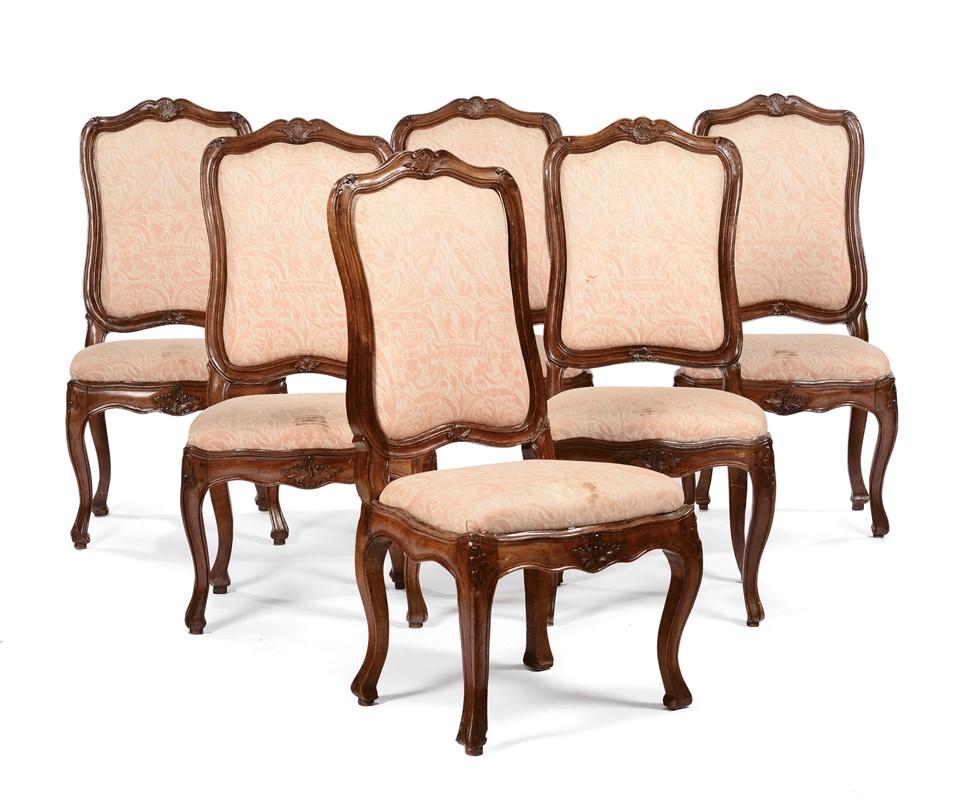 Sei sedie Luigi XV in noce intagliato, Genova XVIII secolo - Asta ...
