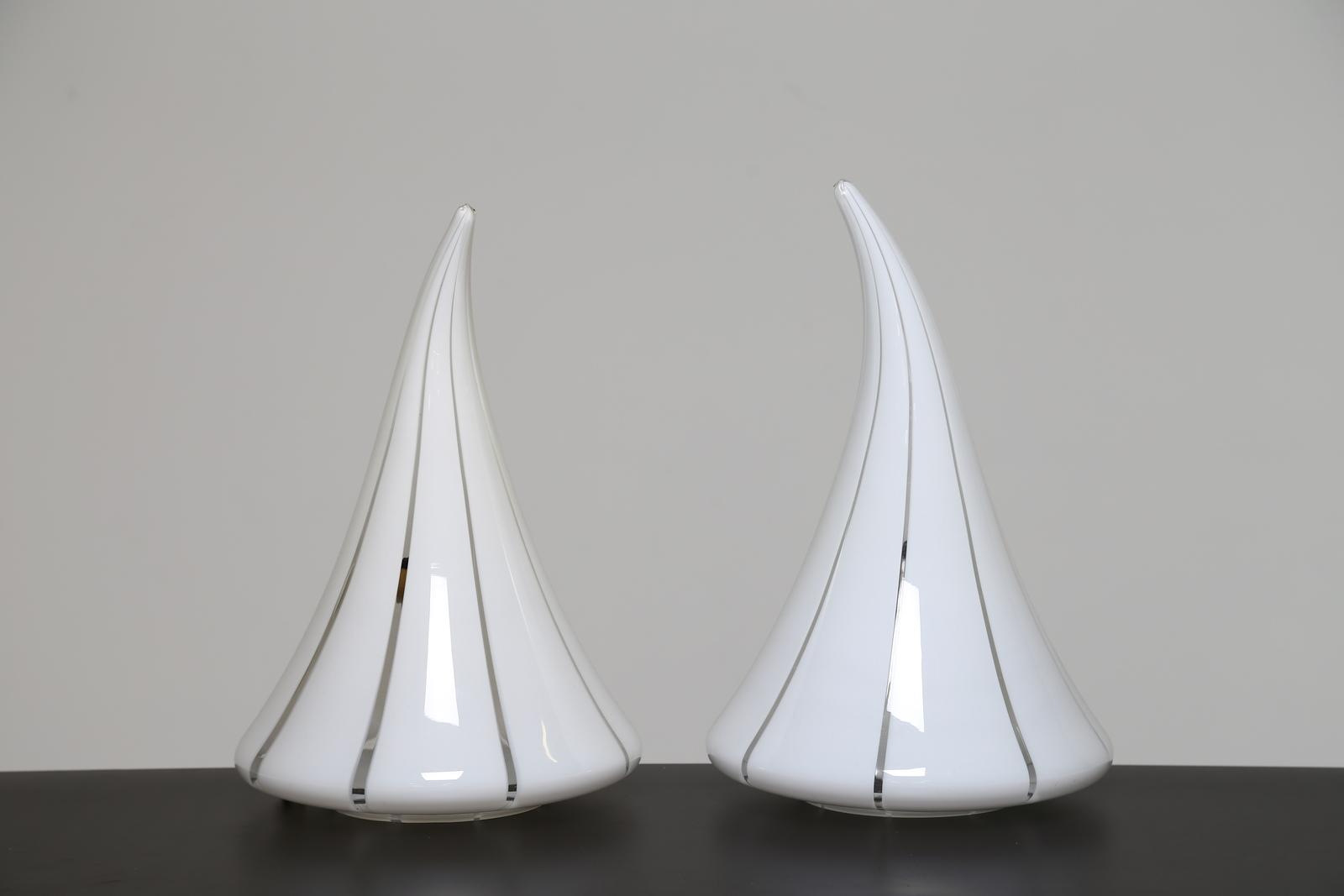 Lampade In Vetro Anni 70 : Manifattura murano coppia di lampade da tavolo in vetro anni