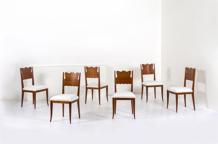 Sedie Imbottite Anni 50 : Buffa paolo sei sedie con struttura in legno seduta imbottita