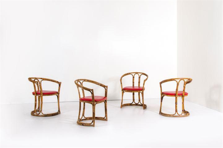 Sedie Imbottite Anni 50 : Bonacina quattro sedie in giunco seduta imbottita rivestita in