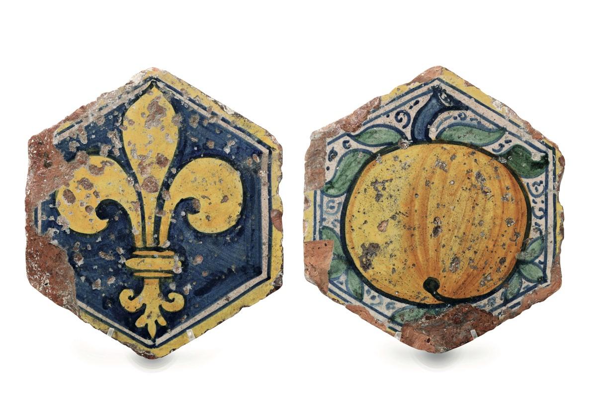 Due piastrelle da pavimento italia centrale bottega della fine