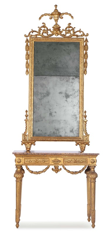 Consolle Luigi XVI con specchiera in legno intagliato ed interamente ...