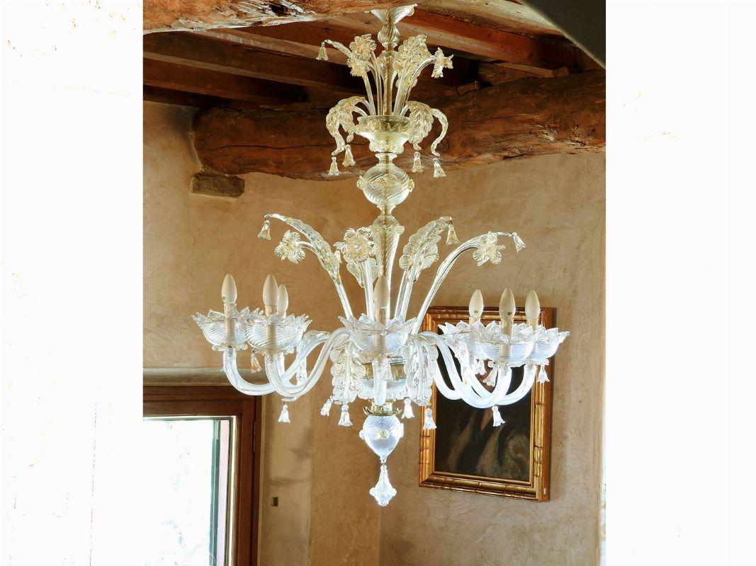 Lampadario Antico Murano : Lampadario a otto luci in vetro di murano incolore epoca deco
